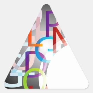 Dekorativt designinslag med färgrika alfabet triangelformat klistermärke