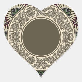 Dekorativt mönster hjärtformat klistermärke