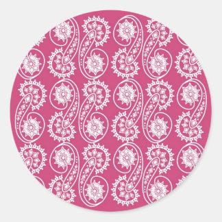 Dekorativt Paisley för vit mönster på rosor Runt Klistermärke