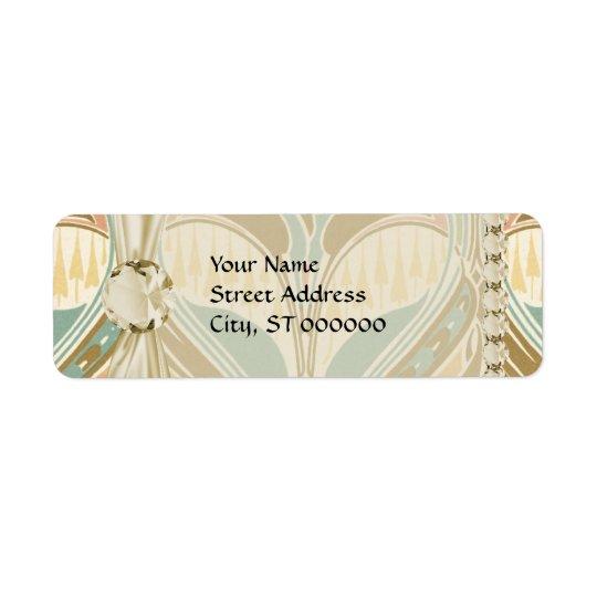 dekorativt salighetmönster för art nouveau returadress etikett