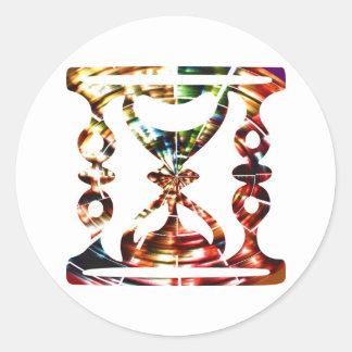 Dekorativt timmeexponeringsglas - Sparkling röd Runt Klistermärke