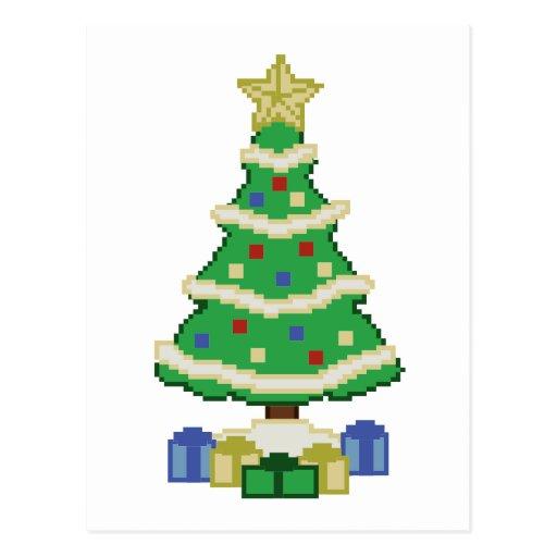 Dekorerad videospelstil för julgran 8bit vykort