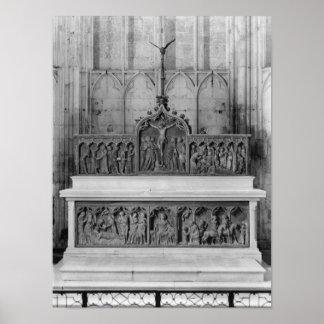 Dekorerade altare och två altarpieces poster