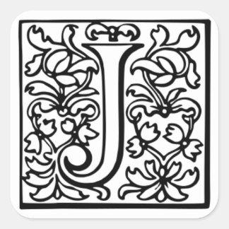"""Dekorerat brev """"J """", Fyrkantigt Klistermärke"""