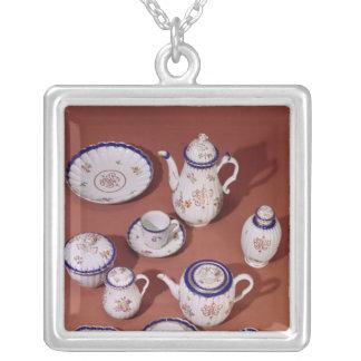 Del av en tjänste- Worcester monogrammed tea Silverpläterat Halsband