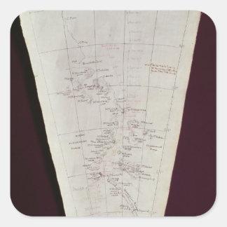 Dela upp av karta från den Ross ön till södra Pole Fyrkantigt Klistermärke