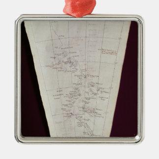 Dela upp av karta från den Ross ön till södra Pole Julgransprydnad Metall