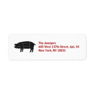 Delad upp svart gris för BBQ Returadress Etikett