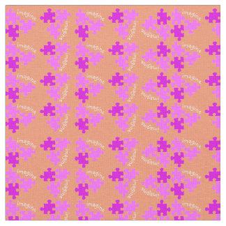 Delar rosa orange för Autismmedvetenhetpussel Tyg
