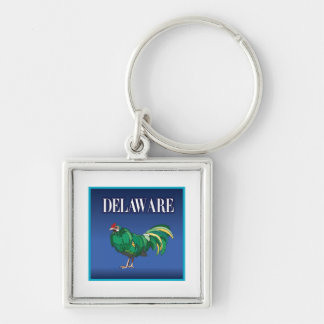 Delaware höna fyrkantig silverfärgad nyckelring