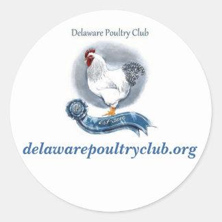 Delaware höna klubbar (lilla) klistermärkear, runt klistermärke