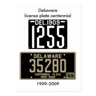 Delaware registreringsskylthundraårsjubileum vykort