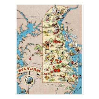 Delaware rolig vintagekarta vykort