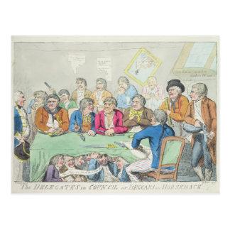 Delegaterna i råd eller tiggare på hästrygg vykort