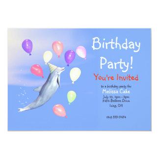 Delfin för ungegrattis på födelsedagenparty 12,7 x 17,8 cm inbjudningskort