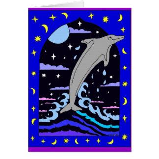 """Delfin, """"hoppa kortet som för för stjärnorna"""" hälsningskort"""