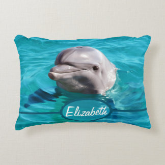 Delfin i blåttvattenfoto prydnadskudde