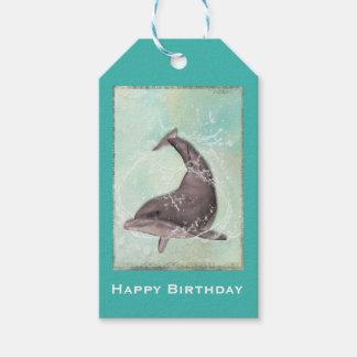 Delfin som plaskar runt om grattis på födelsedagen presentetikett