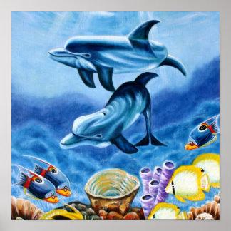 Delfiner och tropisk fiskkonst poster