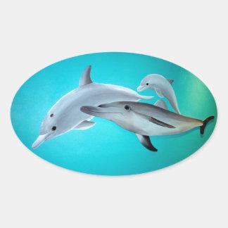 Delfiner Ovalt Klistermärke