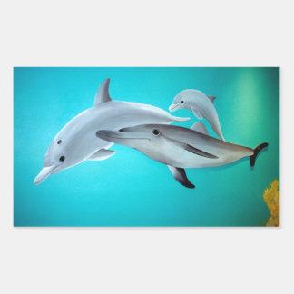 Delfiner Rektangulärt Klistermärke