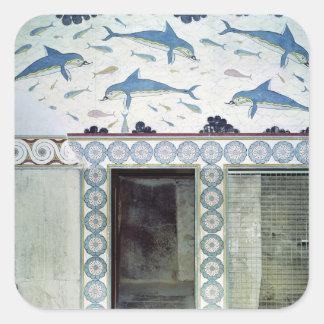 Delfinfrescoesna i drottning badrum fyrkantigt klistermärke