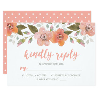 Delikat blom- persika som gifta sig godhjärtad 8,9 x 12,7 cm inbjudningskort