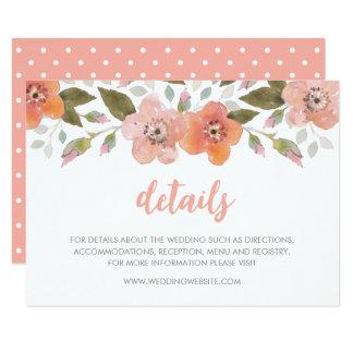Delikat blom- persikabröllop specificerar 8,9 x 12,7 cm inbjudningskort