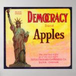 DemokratiApple låda LabelDufur, ELLER Print