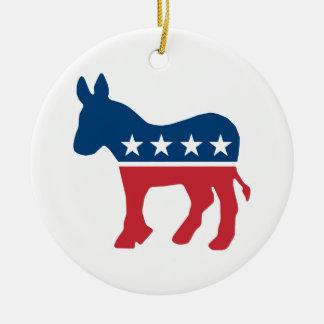Demokratisk åsna julgransprydnad keramik
