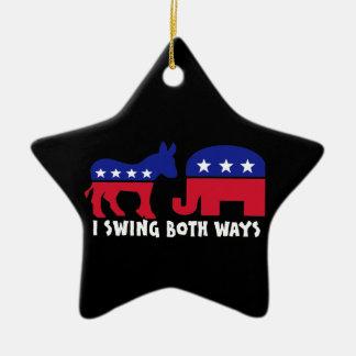 Demokratisk republikansk gungaväljare julgransprydnad keramik