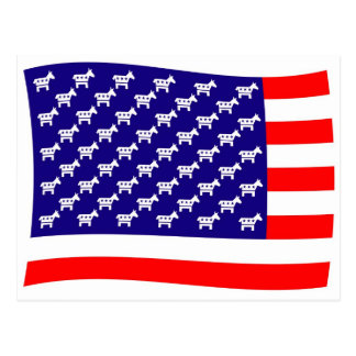 Demokratstars och stripesflagga vykort