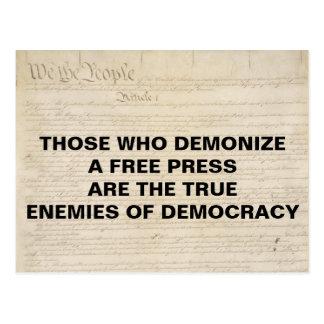 Demonize pressfienden av den första rättelsen för vykort