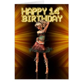 Den 14th födelsedagen för lycklig är du en hälsningskort