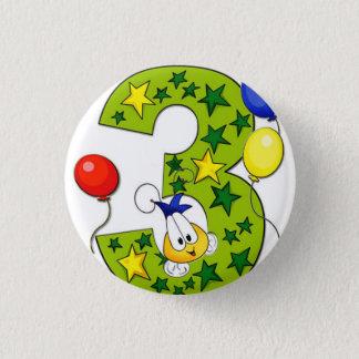den 3rd födelsedagen knäppas mini knapp rund 3.2 cm