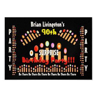 den 90:e ÖVERRRAKNINGfödelsedagsfesten undersöker 12,7 X 17,8 Cm Inbjudningskort