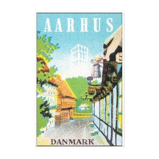 Den Aarhus Danmark vintage resor postar Canvastryck