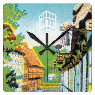Den Aarhus Danmark vintage resor postar Fyrkantig Klocka