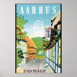 Den Aarhus Danmark vintage resor postar Poster