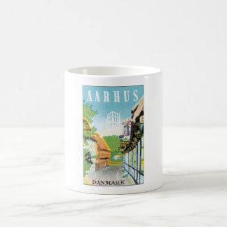 Den Aarhus Danmark vintage resor postar Vit Mugg