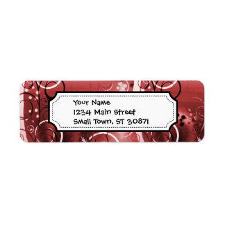 Den abstrakt blommigten virvlar runt röda returadress etikett