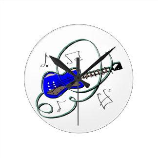 den abstrakt gitarren noterar musik blue.png rund klocka