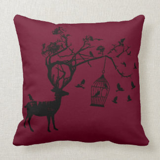 Den abstrakt hjortfågeljulen burgundy kudder kudde