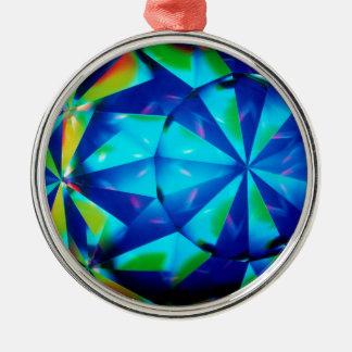Den abstrakt kristallen reflekterar clownen julgransprydnad metall