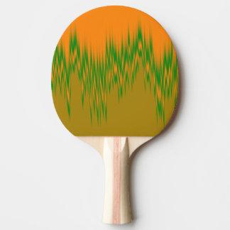 Den abstrakt orangen, grönt, brunt vinkar mönster pingisracket