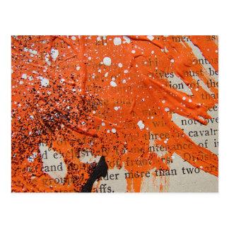 Den abstrakt orangen målar vykort