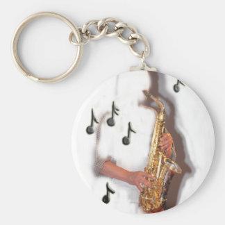 Den abstrakt saxofonspelare musik och nyckel ringar