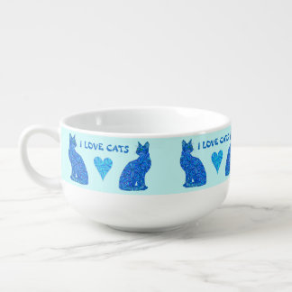 Den abstrakt sittakatten för blått älskar jag stor kopp för soppa