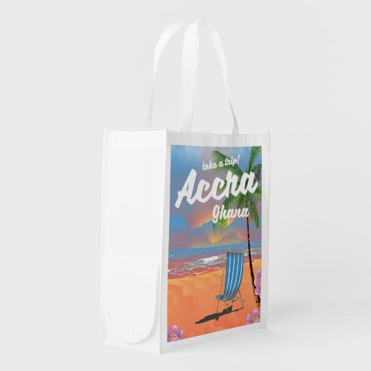 Den Accra Ghana stranden reser affischen Återvinningsbar Matkasse