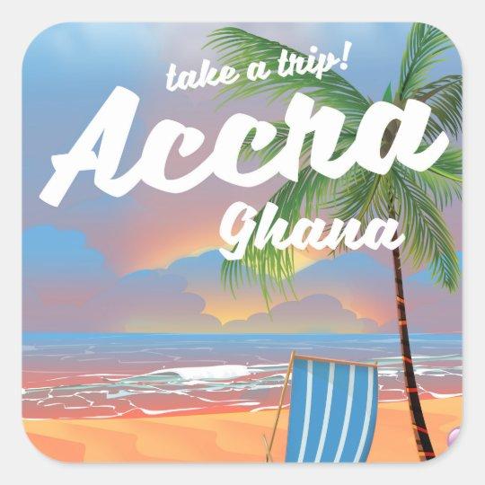 Den Accra Ghana stranden reser affischen Fyrkantigt Klistermärke